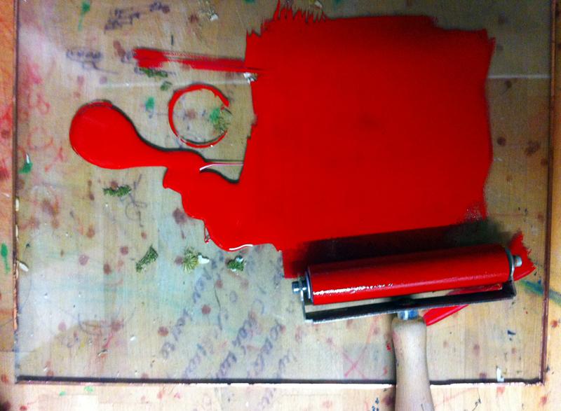 Linolschnitt, Schritt 1, zweite Farbe, rot