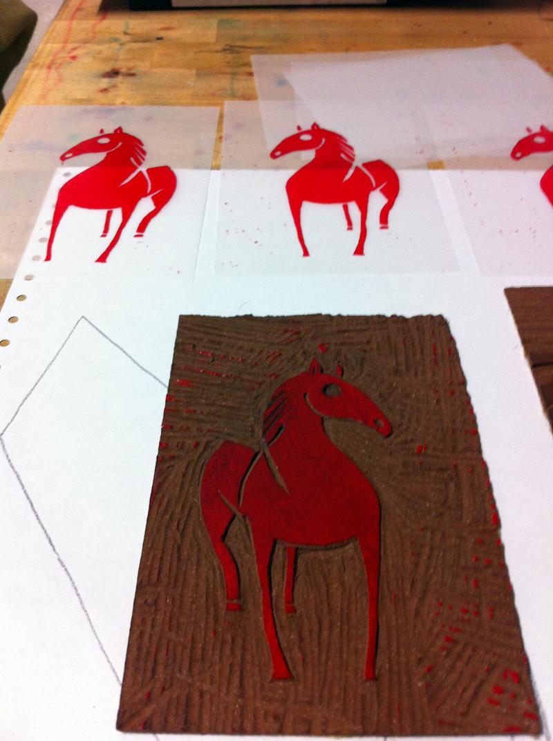 Linolschnitt, Schritt 1, erste Farbe, Platte