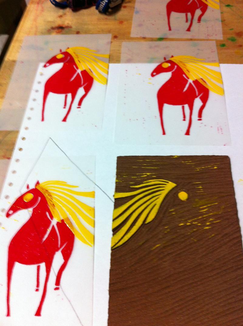 Linolschnitt, Schritt 2, zweite Farbe, Platte