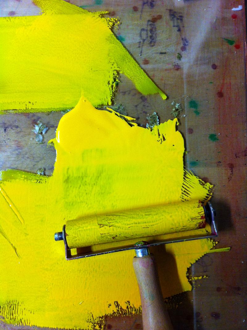 Linolschnitt, Schritt 2, zweite Farbe, gelb