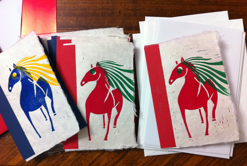 Das Pferd, Linolschnitt, Postkarten, 2013