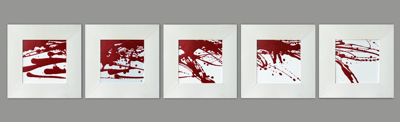 Rot und Weiß (fünf Teile), Acryl, 2013