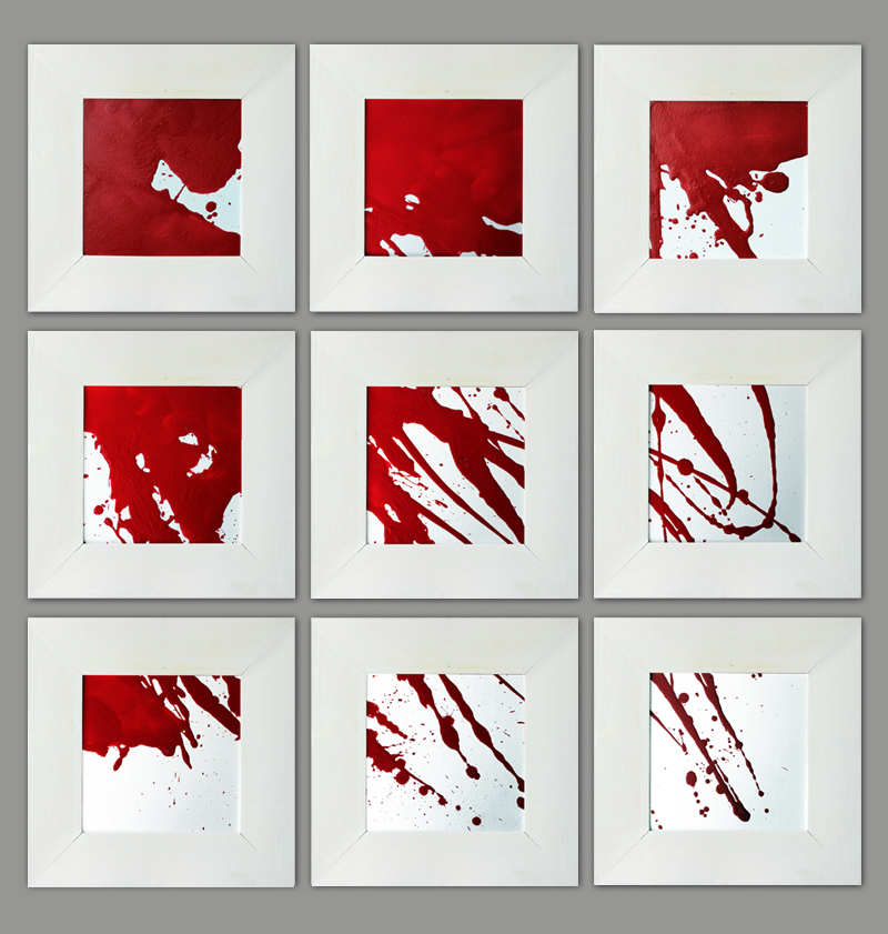Rot und Weiß (neun Teile), Acryl, 2013