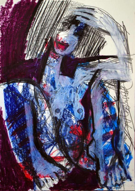 © MAHNAC, Akt Zeichnung, Blauer Akt, Mixed Media, 42 x 60 cm, Oxana Mahnac