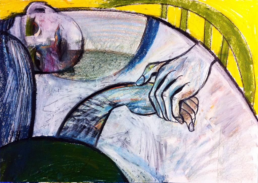 Zeichnung, liegende Frau, 60 x 42 cm, Mixed Media