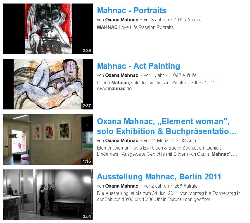 Videobeiträge von Oxana Mahnac