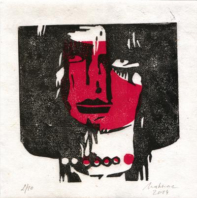 Linolschnitt, 2/10, rot/schwarz, 20 x 20 cm, handgeschöpftes Papier, Mahnac, 2014