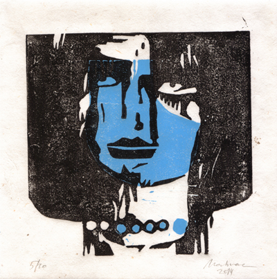 Linolschnitt, 5/10, blau/schwarz, 20 x 20 cm, handgeschöpftes Papier  Mahnac, 2014