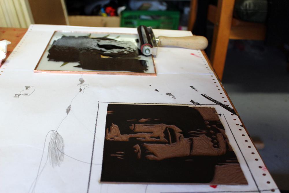 Linolschnitt, Schritt 2, schwarz, Mahnac