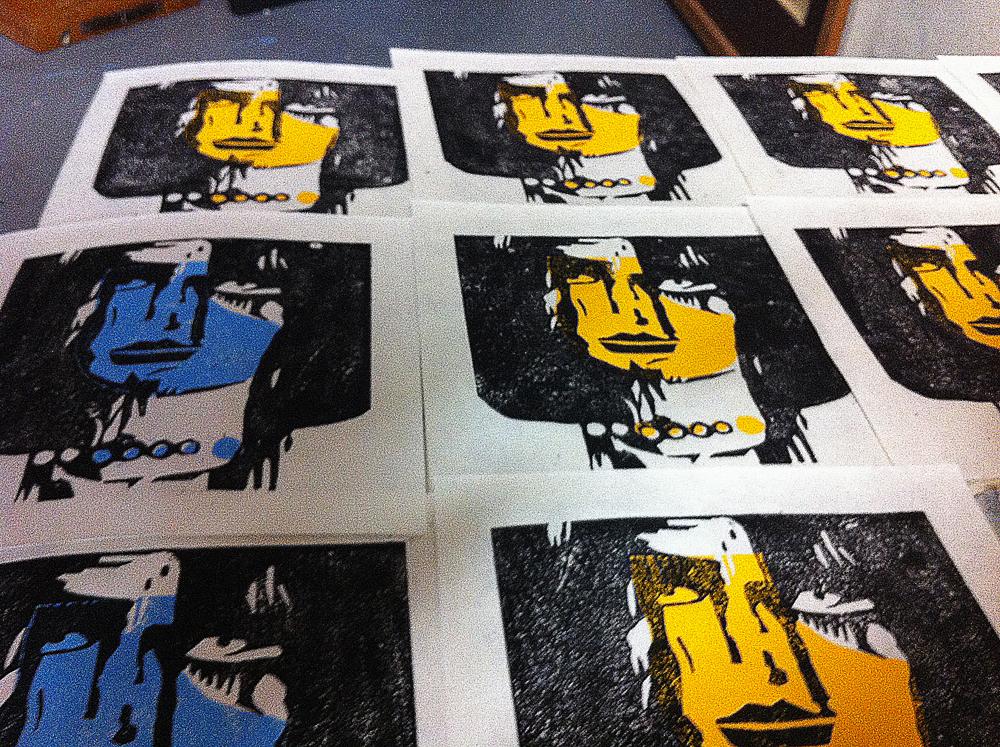 Linolschnitt-Blätter