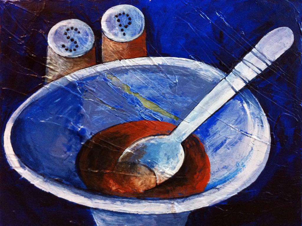 Die Suppe, Acryl auf Leinwand, 40 x 30 cm, Mahnac, 2014