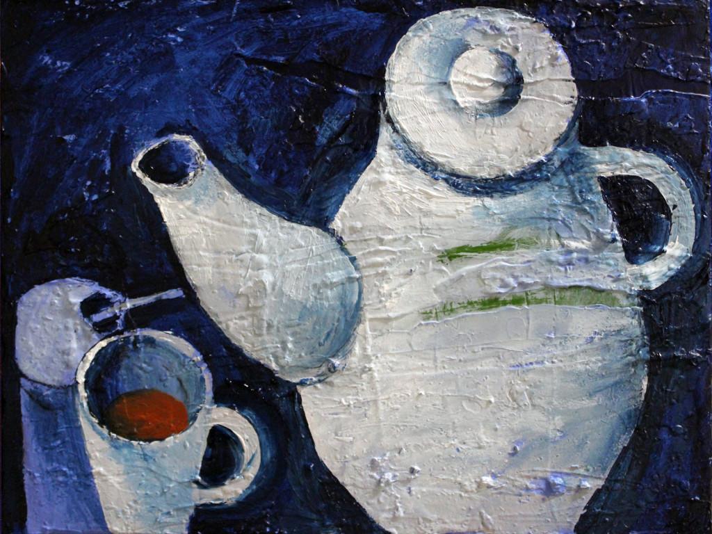 Tee, Stillleben, Acryl auf Leinwand, Malerei, 40 x 30 cm, 2014