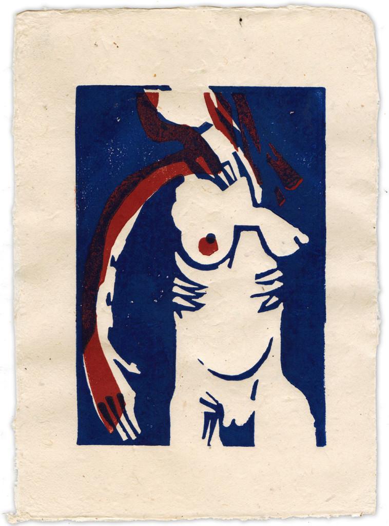 Akt, Linolschnitt, 1/40, 15 x 20 cm, Mahnac, 2014