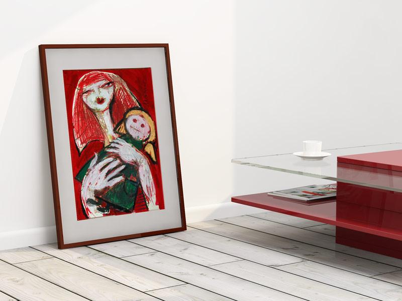 Zeichnung (Lieblingspuppe), gerahmt, Oxana Mahnac