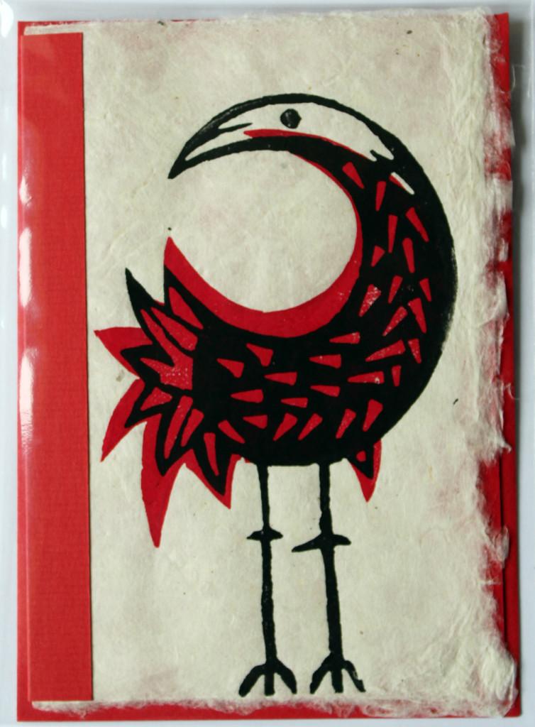 Vogel, Kunstpostkarte, Linolschnitt auf dem handgeschöpften Papier 60 g/m², A6 groß, mit einem Einleger und dem Briefumschlag (Verpackt), , 20 Exemplare