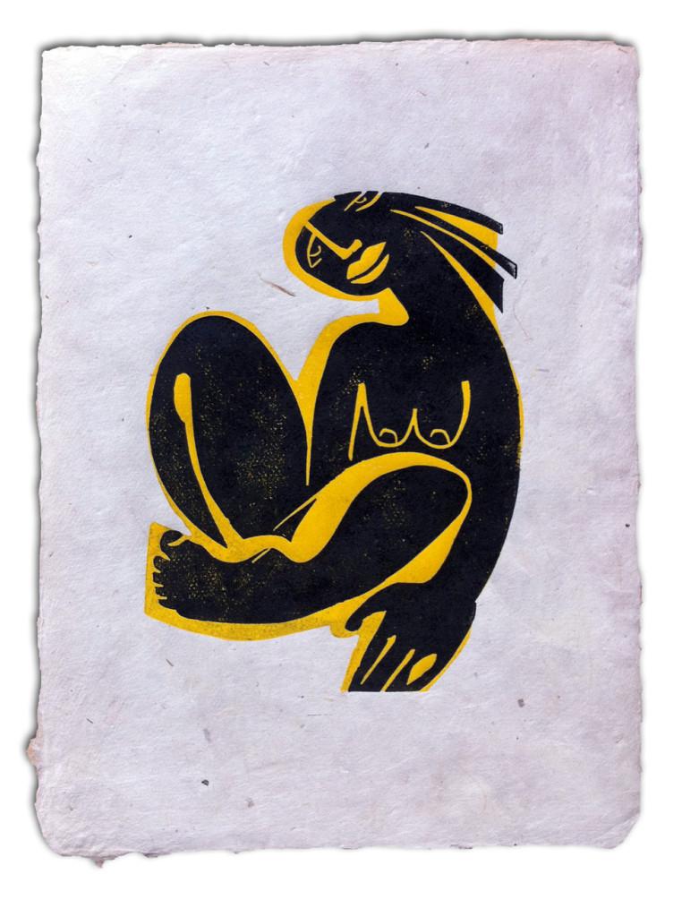 Nude, Linolschnitt, 1/40, 15 x 20 cm, Mahnac, 2014