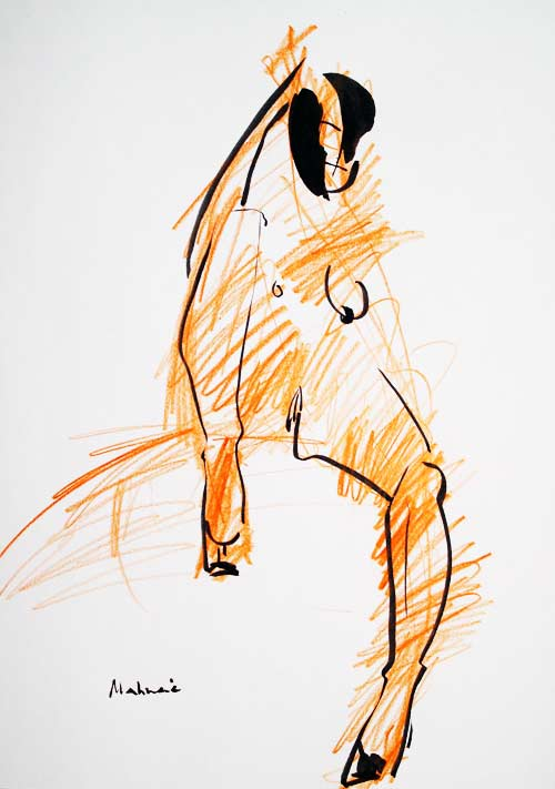 Akt 04, Tusche & Farbstift, A4, 2010