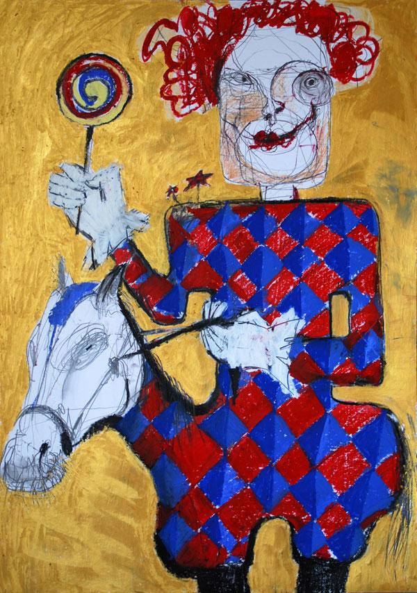 Weißer Clown, Mixed Media, 2010