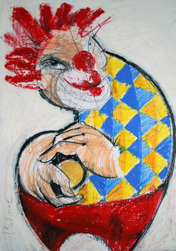 Roter Clown, Mixed Media, 2010