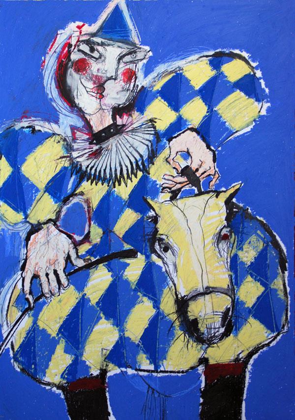 Blauer Clown, Mixed Media, 2010