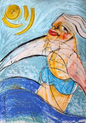 Leben in Harmonie (Bewegung ist gut), Mixed Media auf Papier, 42 x 60 cm, 2014