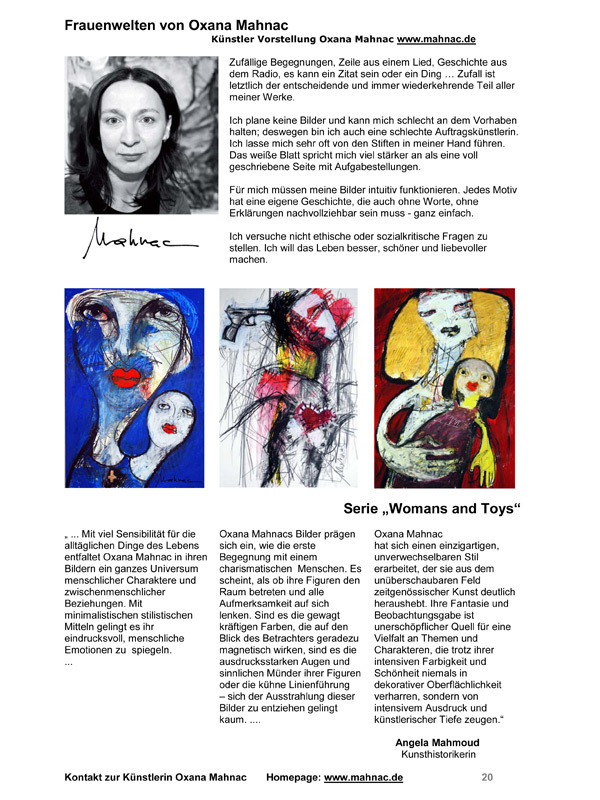 Künstlerin Oxana Mahnac, Presse, 2013
