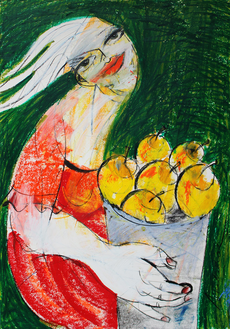 Leben in Harmonie (Frisch aus der Natur), Mixed Media auf Papier, 42 x 60 cm, 2014