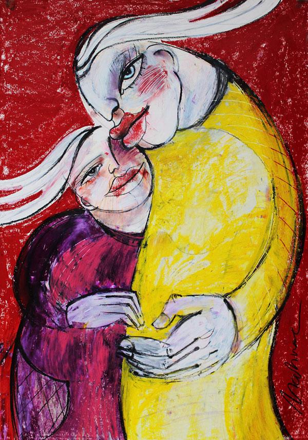 Leben in Harmonie (Familie), Mixed Media auf Papier, 42 x 60 cm, 2014