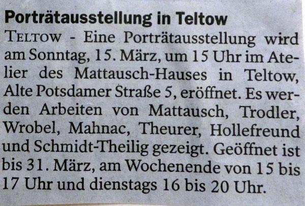 Presse, Ausstellug im Mattauschhaus, Teltow