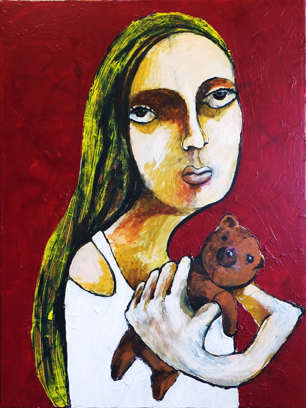 A one-armed bride with a one-armed bear.  60 x 80 cm Acryl on Canvas