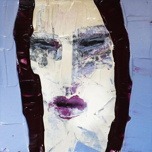 Poétesse, (Frauenpartrait #0004), 20 x 20 cm, Acryl auf der HDF-Malplatte, 2015