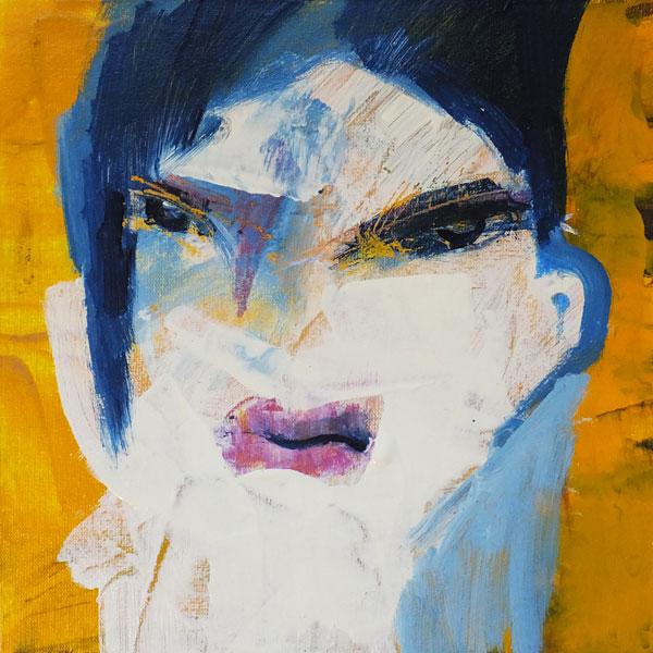 Reisende, (Frauenpartrait #0002), 20 x 20 cm, Acryl auf der HDF-Malplatte, 2015
