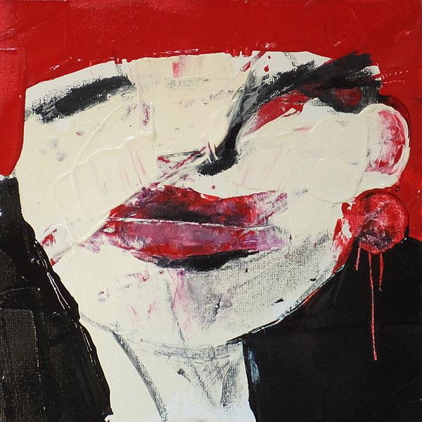 Girl, (Frauenpartrait #0005), 20 x 20 cm, Acryl auf der HDF-Malplatte, 2015