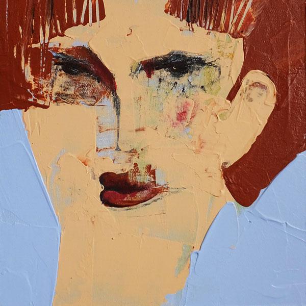 Lehrerin, (Frauenpartrait #0005), 20 x 20 cm, Acryl auf der HDF-Malplatte, 2015