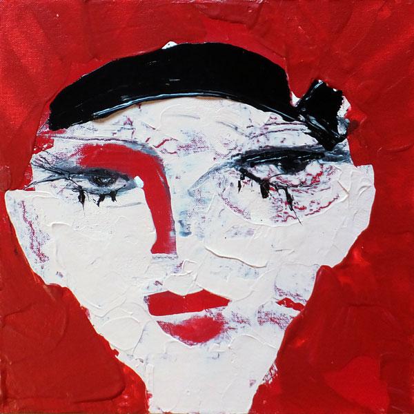 Jung, (Frauenpartrait #0010), 20 x 20 cm, Acryl auf der HDF-Malplatte, 2015
