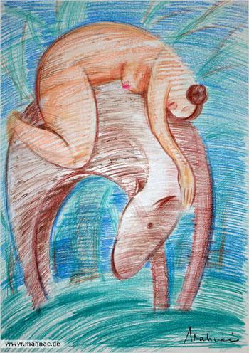 Frau-und-Pferd-Zeichnung