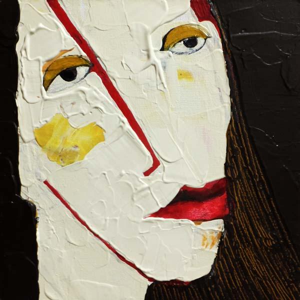 Vergessen, (Frauenpartrait #0013), 20 x 20 cm, Acryl auf der HDF-Malplatte, 2015