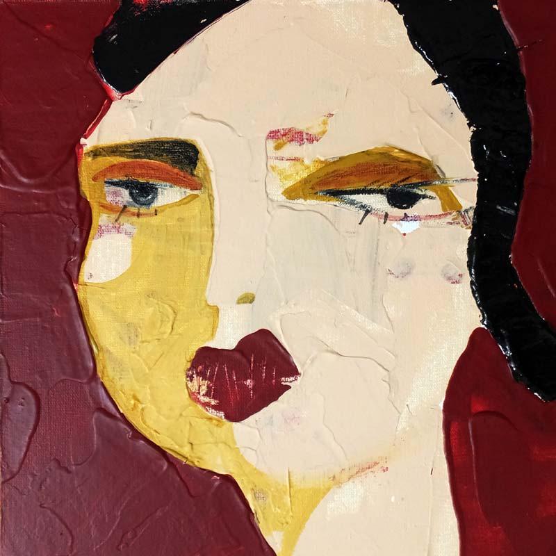 Wissen, (Frauenpartrait #0015), 20 x 20 cm, Acryl auf der HDF-Malplatte, 2016