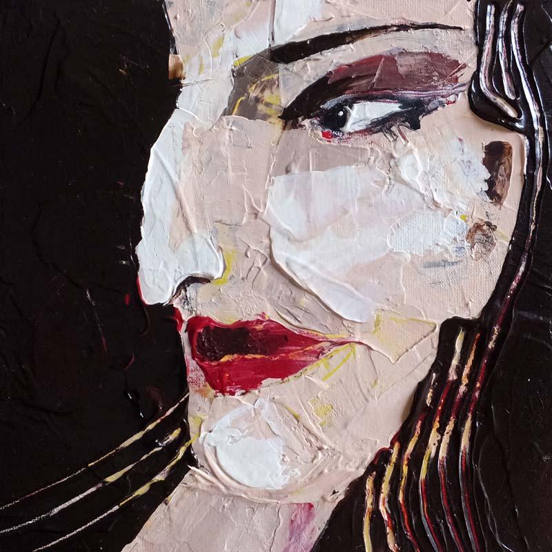Perfektion, (Frauenpartrait #0016), 20 x 20 cm, Acryl auf der HDF-Malplatte, 2016