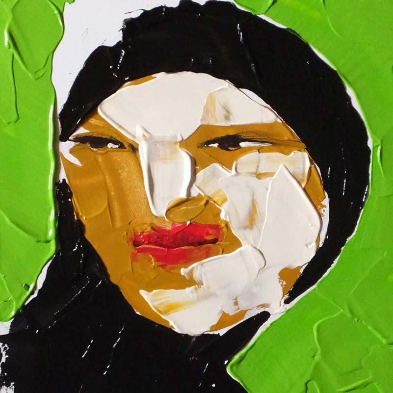 Andere, (Portrait #0017), 20 x 20 cm, Acryl auf der HDF-Malplatte, 2016