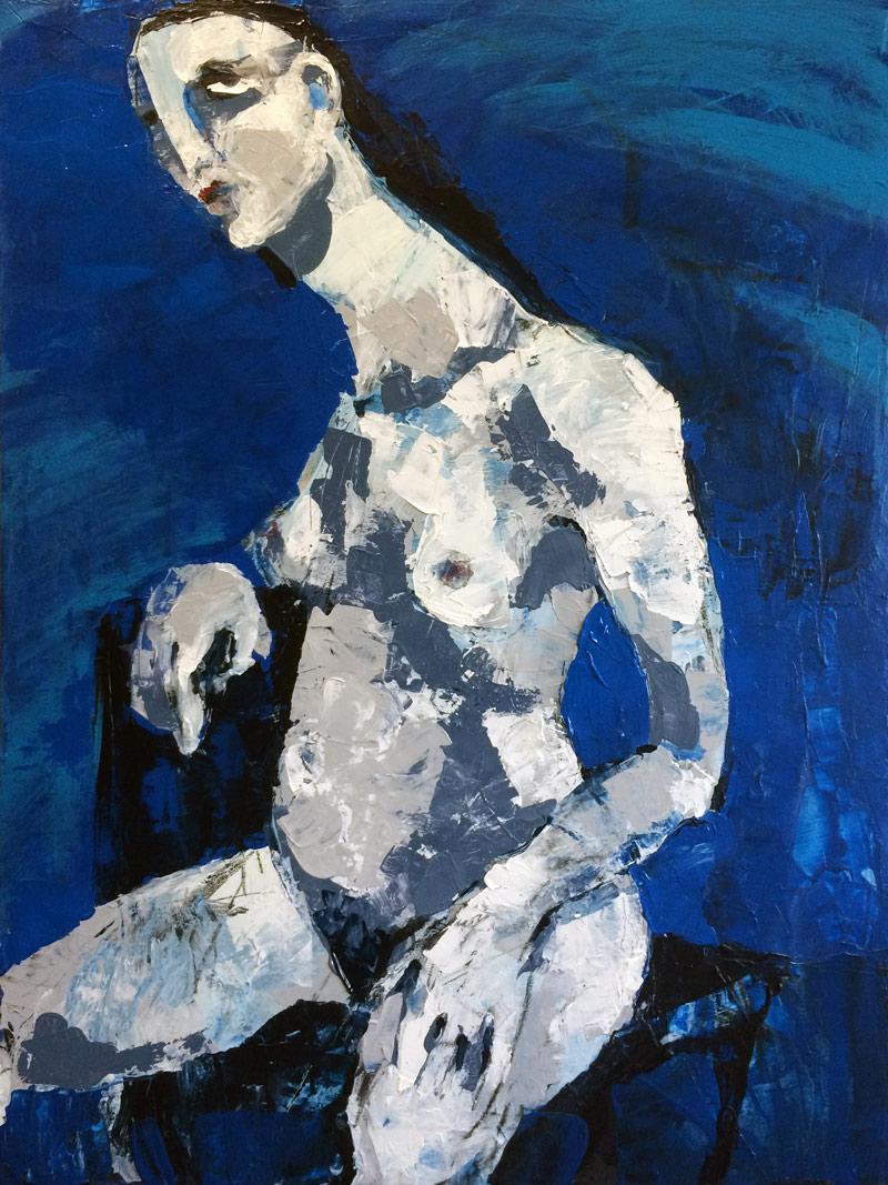 Blauer Akt, Acryl auf Leinwand, 80 x 60 cm, 2016
