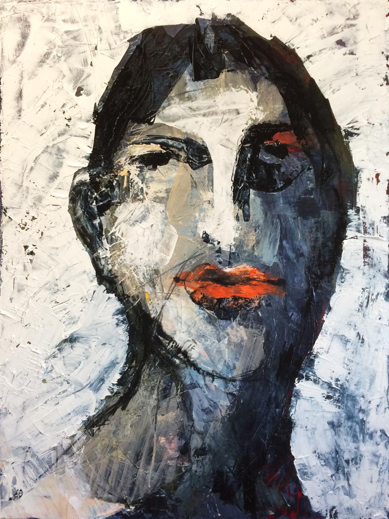Portrait eines jungen Mannes, Acryl auf Leinwand, 80 x 60 cm, 2016