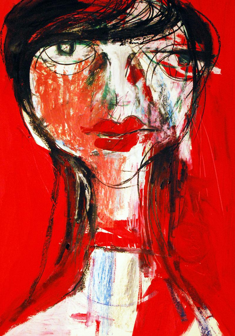 Marie, 60 x 42 cm, Mixed Media auf Papier, 2011, Oxana Mahnac