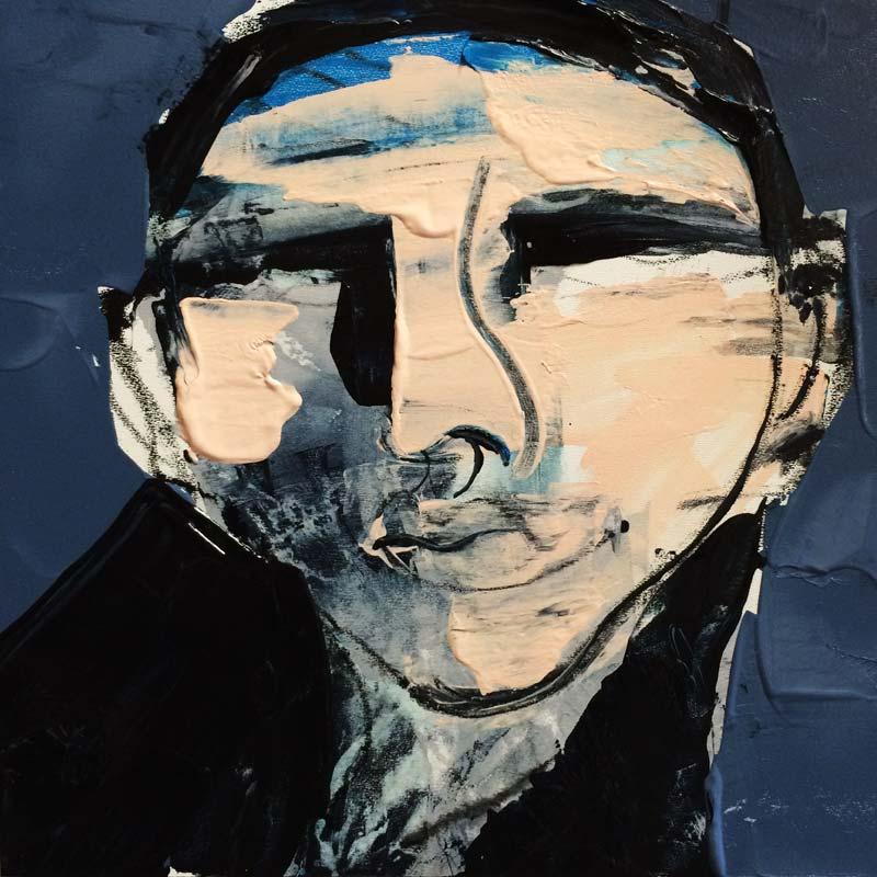 Lüge, (#0043), 20 x 20 cm, Acryl auf der HDF-Malplatte, 2016