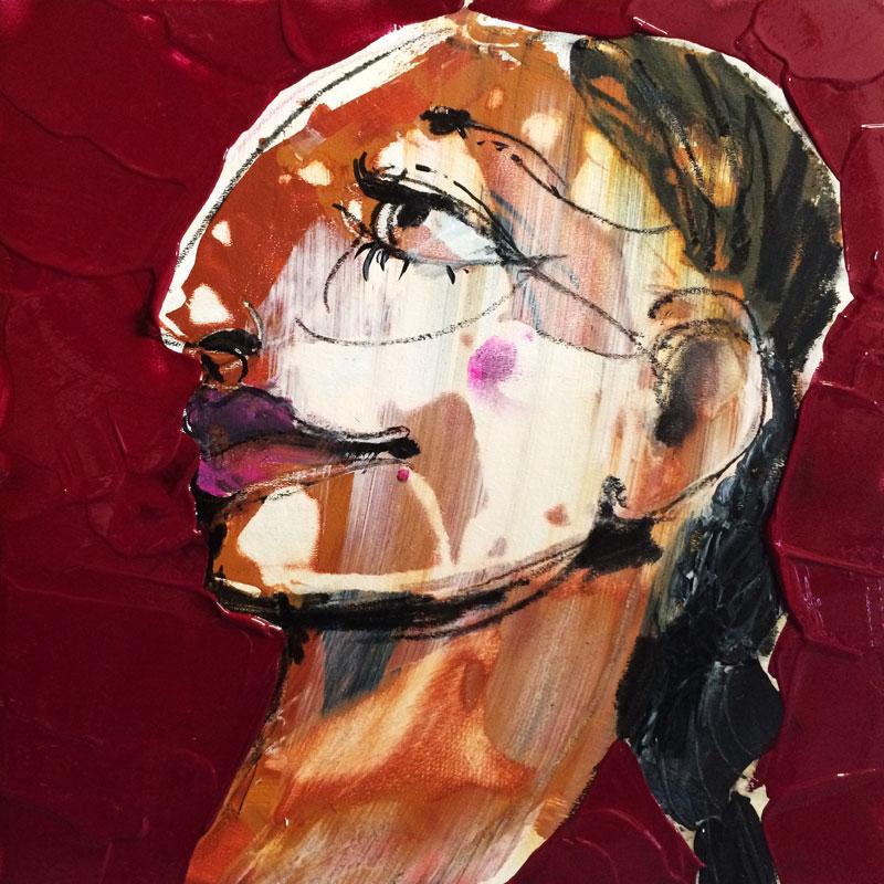 Lachen, (#0049), 20 x 20 cm, Acryl auf der HDF-Malplatte, 2016