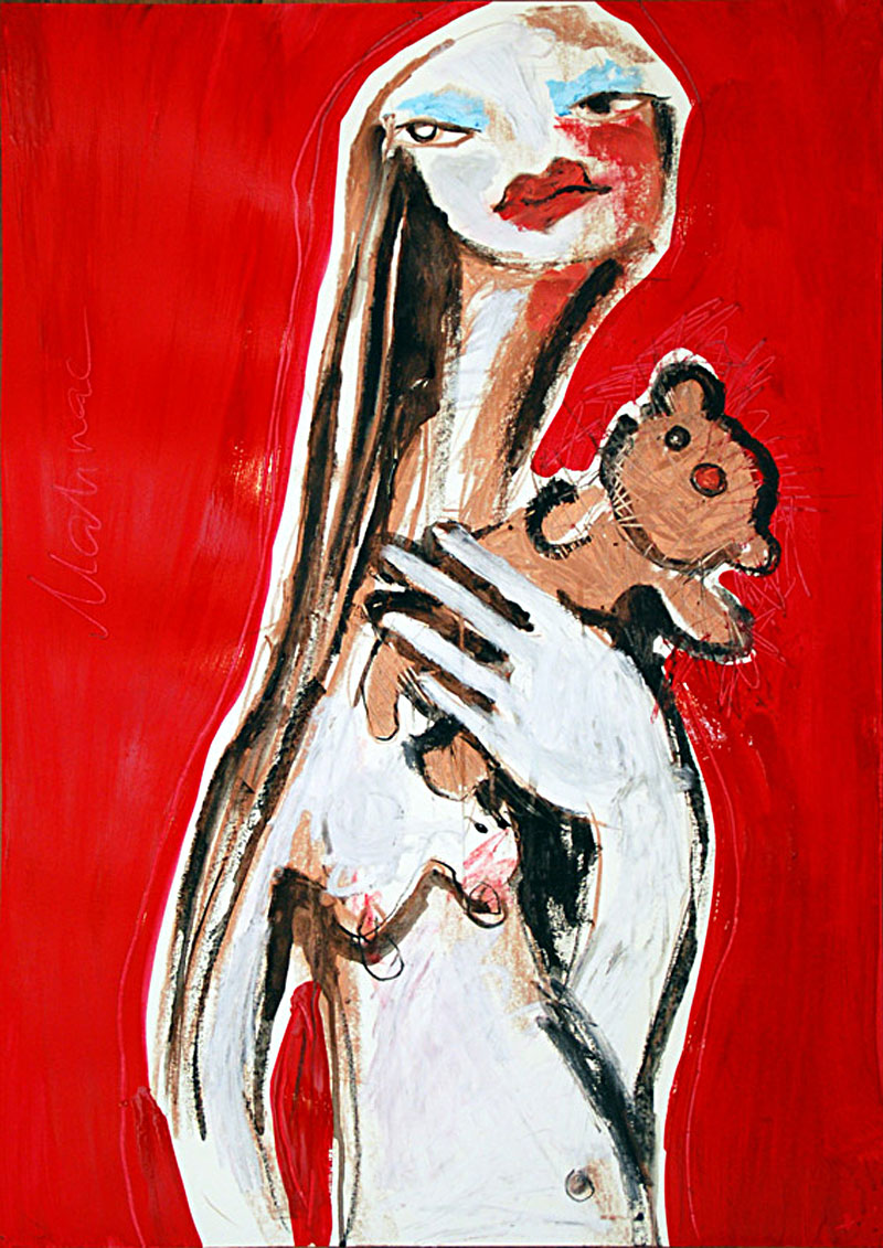 My Taddy (01), WOMEN-AND-TOYS, Mixad Media, Papier, 60 x 42 cm, Oxana Mahnac, 2009 (sold)