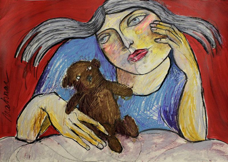das Mädchen, 42 x 60 cm, Mixed Media, Oxana Mahnac