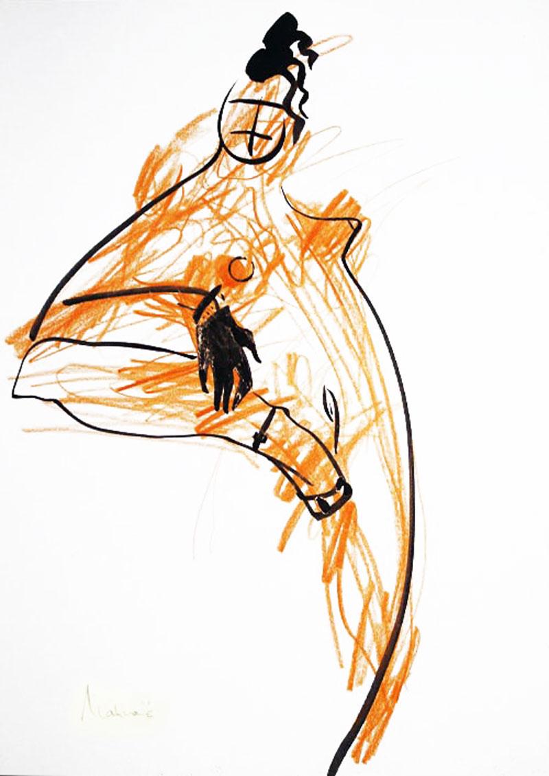 Akt-Abstrakt (10), Tuschmalerei auf Papier, 31 x 21 cm, Oxana Mahnac, 2007