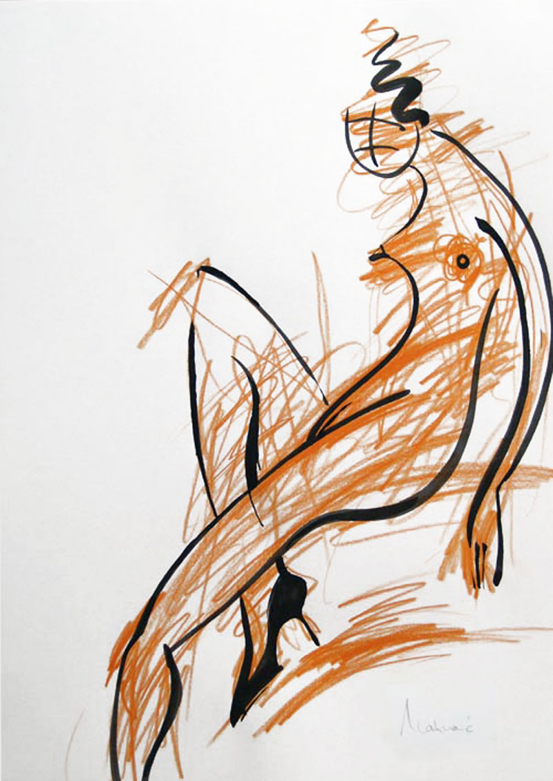 Akt-Abstrakt (15), Tuschmalerei auf Papier, 31 x 21 cm, Oxana Mahnac, 2007