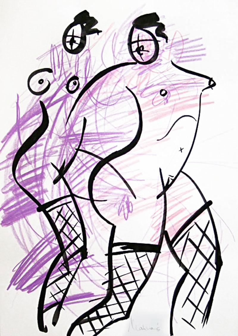 Akt-Abstrakt (17), Tuschmalerei auf Papier, 31 x 21 cm, Oxana Mahnac, 2007